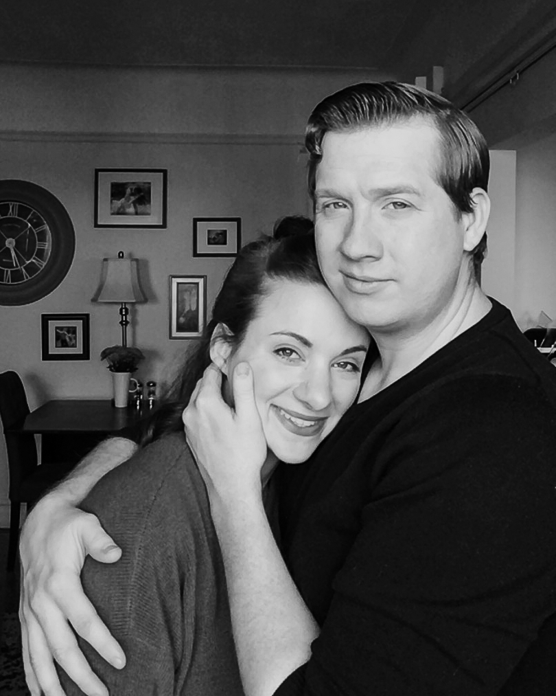 quarantine photo shoot intimate classic portrait of husband and wife black and white photo
