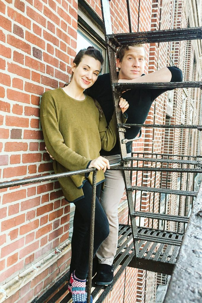 quarantine photo shoot new york city couple hangs out on their fire escape