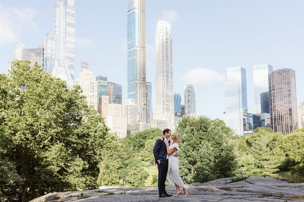 central park rock skyline views engagement photos