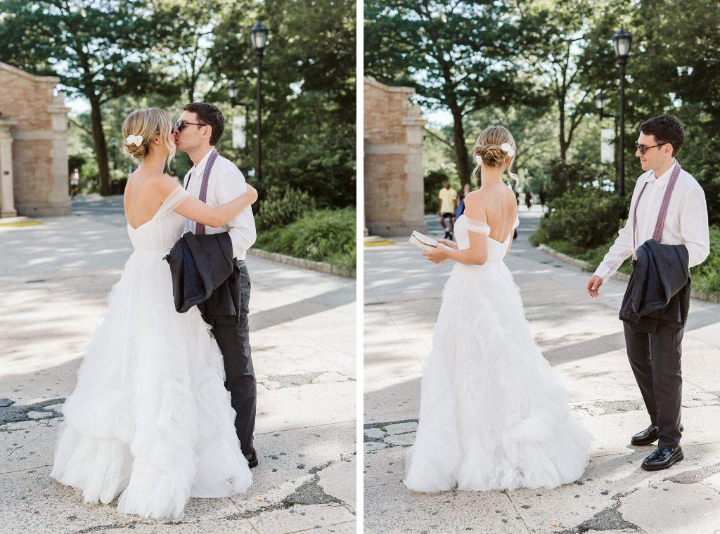 battery park wedding first look photo NYC elopement photographer Sarah Sayeed
