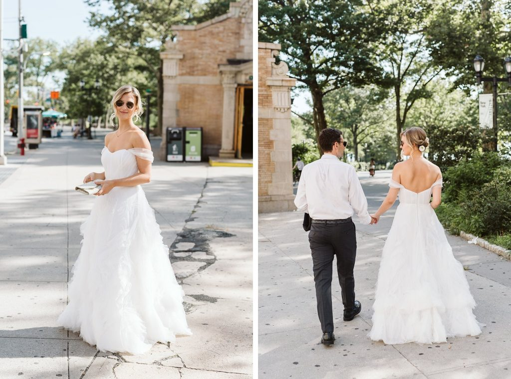 battery park intimate wedding bride and groom portraits by NYC elopement photographer Sarah Sayeed