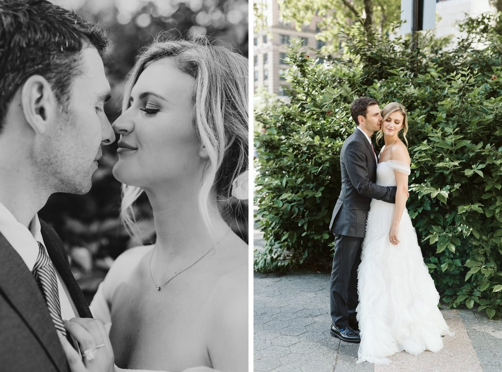 battery park wedding photos bride and groom portraits by NYC elopement photographer Sarah Sayeed