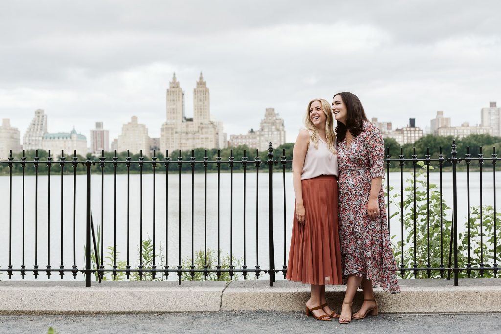 central park reservoir engagement session same sex couple by NYC elopement photographer Sarah Sayeed