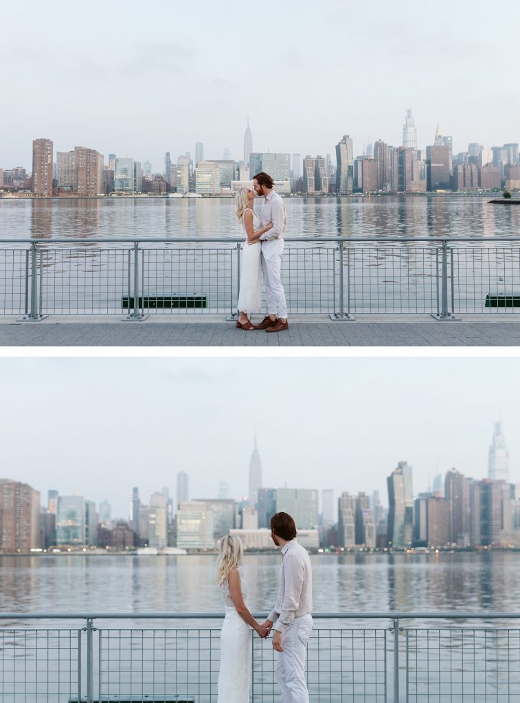 greenpoint sunrise elopement nyc skyline by NYC elopement photographer Sarah Sayeed