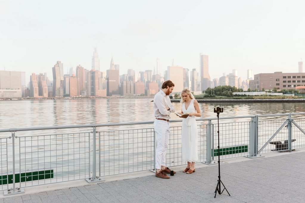 greenpoint brooklyn sunrise elopement nyc skyline by NYC elopement photographer Sarah Sayeed