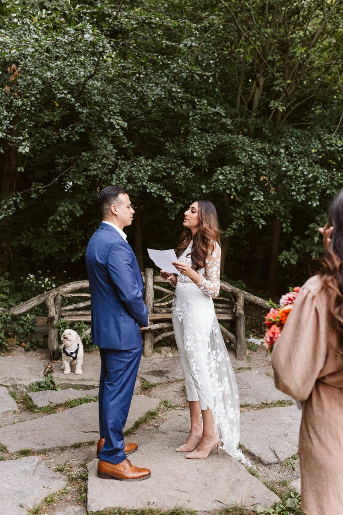 dog central park elopement by NYC elopement photographer Sarah Sayeed