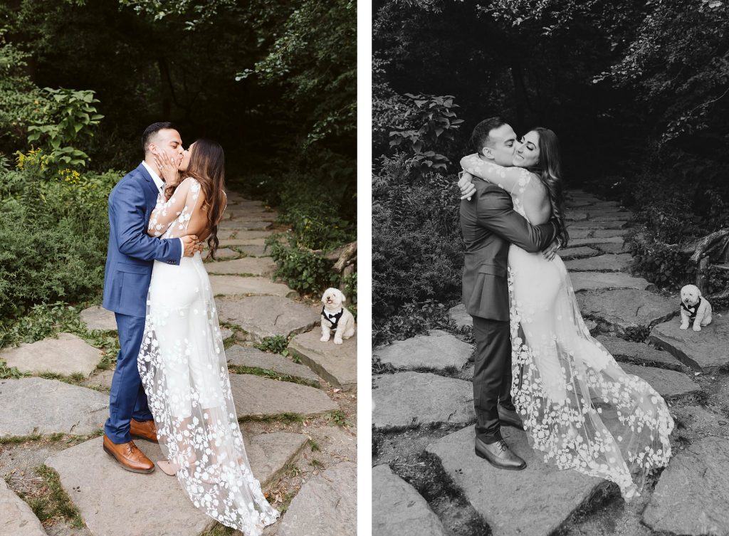 first kiss central park elopement by NYC elopement photographer Sarah Sayeed
