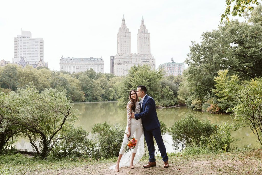 bow bridge central park elopement by NYC elopement photographer Sarah Sayeed