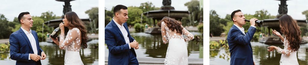 bethesda fountain central park elopement by NYC elopement photographer Sarah Sayeed