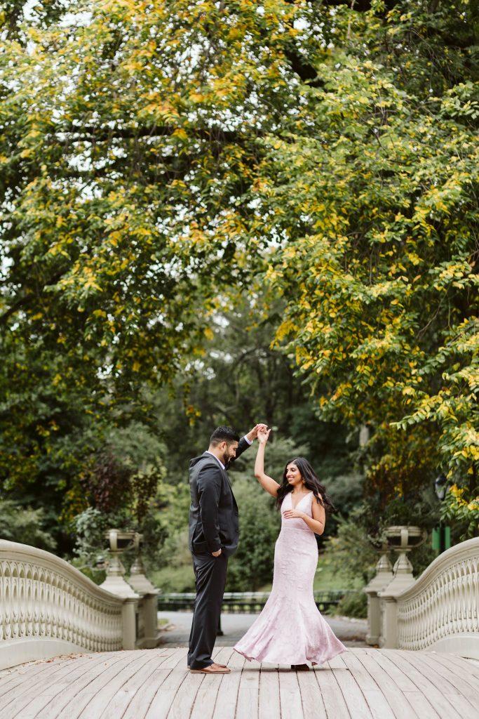 Bow Bridge Central Park Engagement Photos by NYC elopement photographer Sarah Sayeed